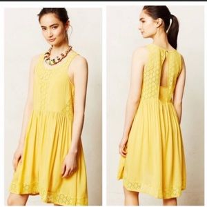Anthropologie Sleeveless Yellow Dress with Pockets